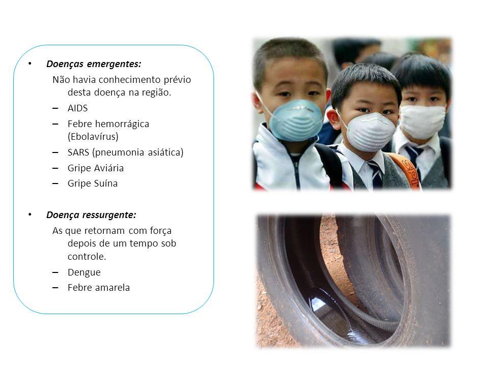 • Doenças emergentes: Não havia conhecimento prévio desta doença na região. – AIDS – Febre hemorrágica (Ebolavírus) – SARS (pneumonia asiática) – Grip