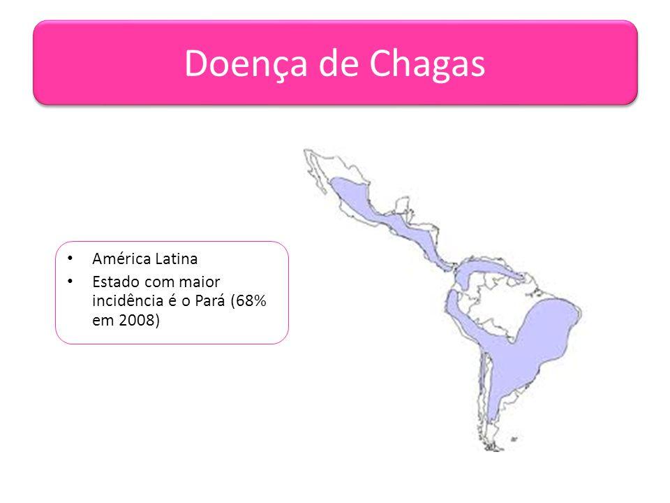 Doença de Chagas • América Latina • Estado com maior incidência é o Pará (68% em 2008)