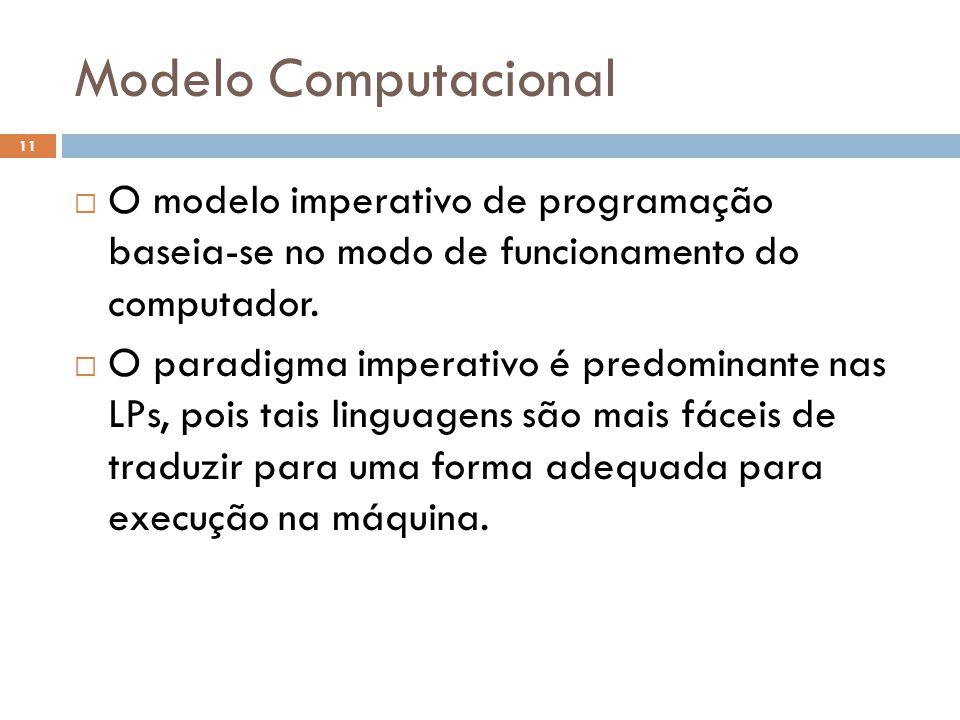 Modelo Computacional  O modelo imperativo de programação baseia-se no modo de funcionamento do computador.  O paradigma imperativo é predominante na