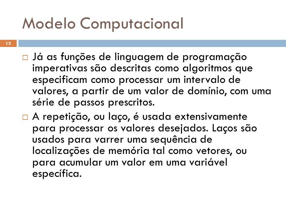 Modelo Computacional  Já as funções de linguagem de programação imperativas são descritas como algoritmos que especificam como processar um intervalo de valores, a partir de um valor de domínio, com uma série de passos prescritos.