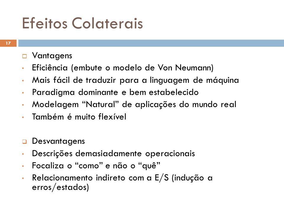Efeitos Colaterais  Vantagens • Eficiência (embute o modelo de Von Neumann) • Mais fácil de traduzir para a linguagem de máquina • Paradigma dominant