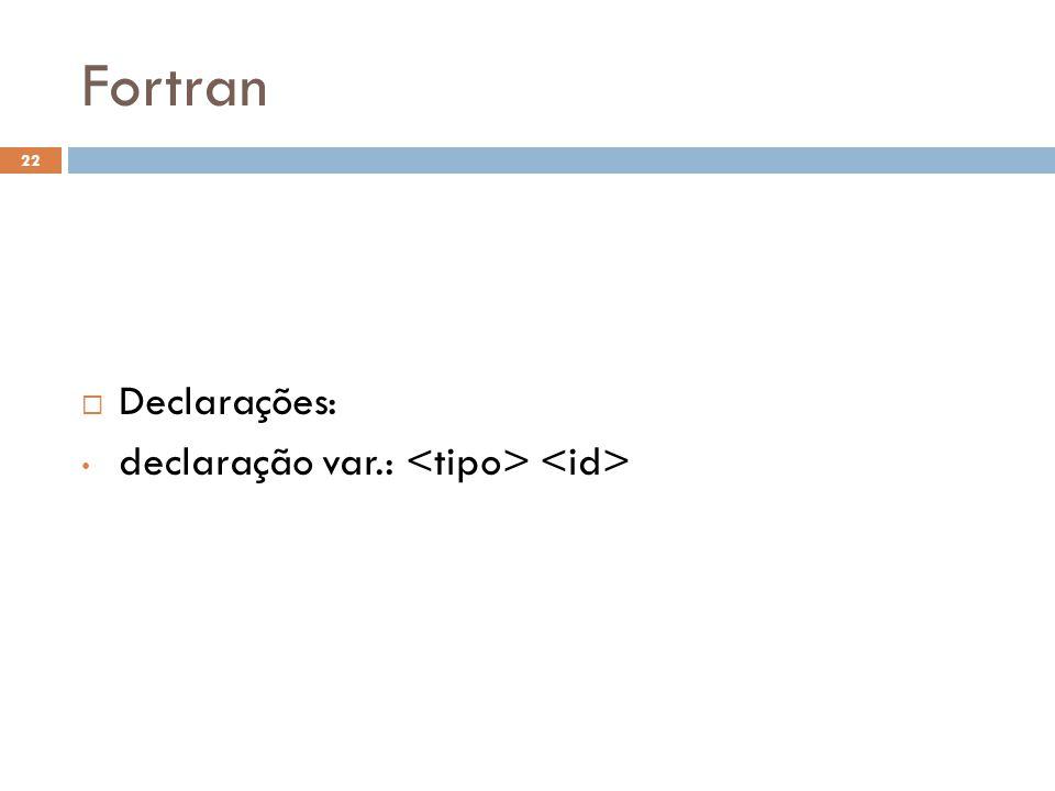 Fortran  Declarações: • declaração var.: 22