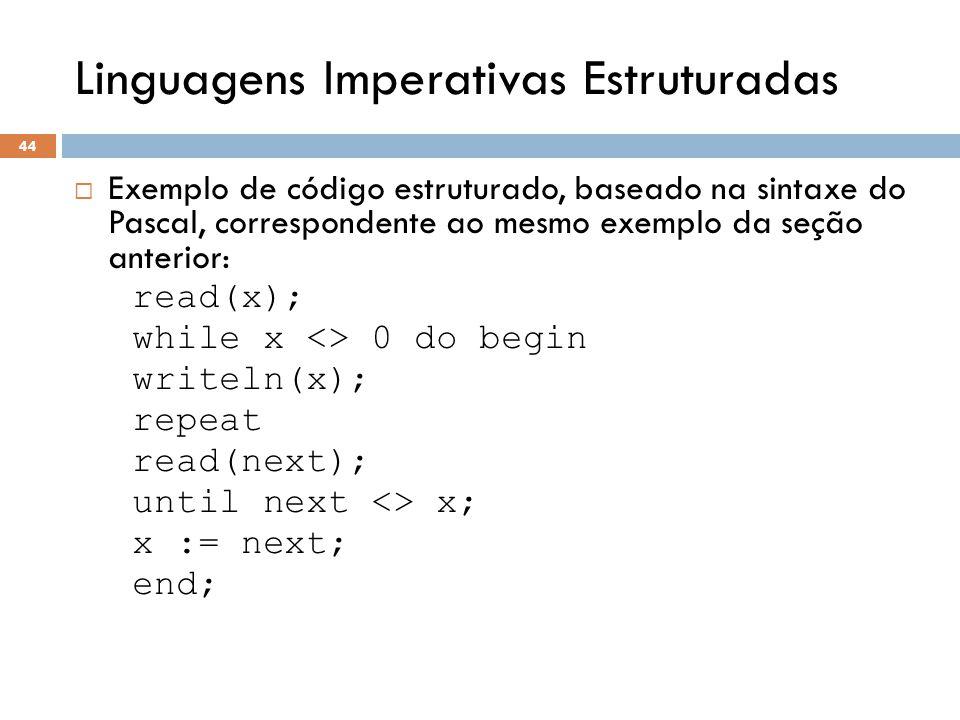 Linguagens Imperativas Estruturadas  Exemplo de código estruturado, baseado na sintaxe do Pascal, correspondente ao mesmo exemplo da seção anterior: read(x); while x <> 0 do begin writeln(x); repeat read(next); until next <> x; x := next; end; 44