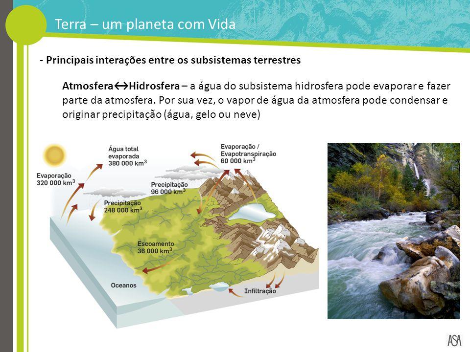 Terra – um planeta com Vida - Principais interações entre os subsistemas terrestres Atmosfera↔Hidrosfera – a água do subsistema hidrosfera pode evapor