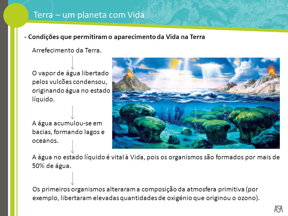 - Condições que permitiram o aparecimento da Vida na Terra Arrefecimento da Terra. O vapor de água libertado pelos vulcões condensou, originando água