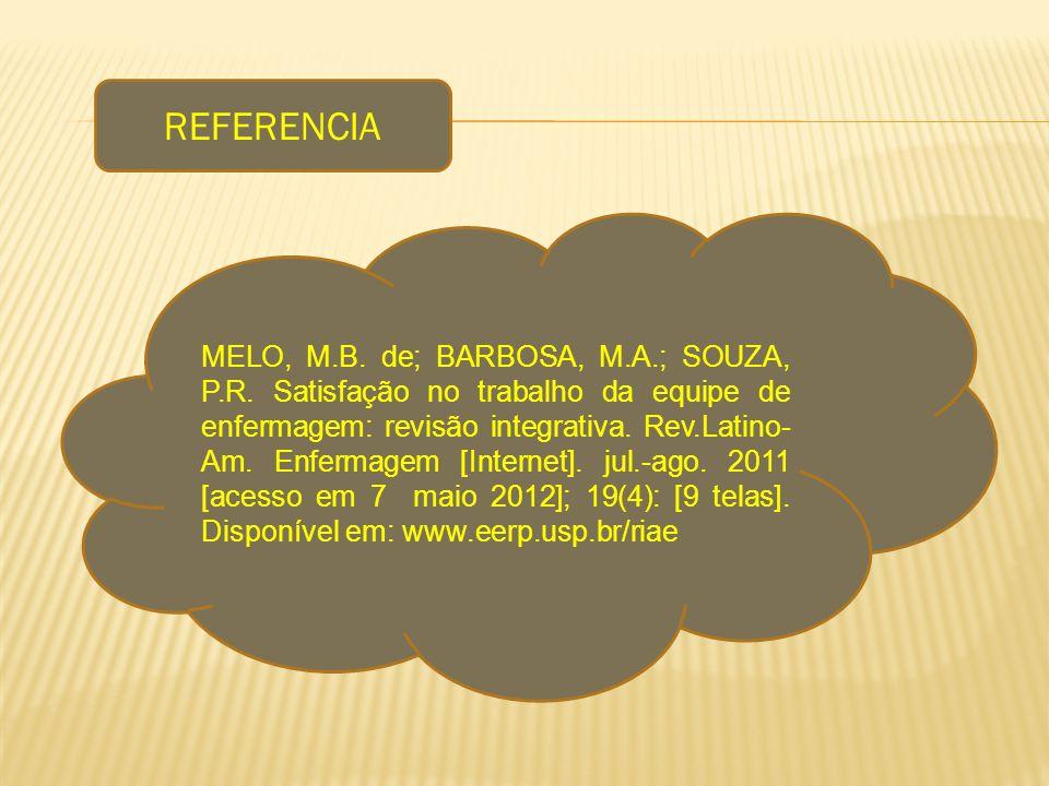 REFERENCIA MELO, M.B. de; BARBOSA, M.A.; SOUZA, P.R. Satisfação no trabalho da equipe de enfermagem: revisão integrativa. Rev.Latino- Am. Enfermagem [