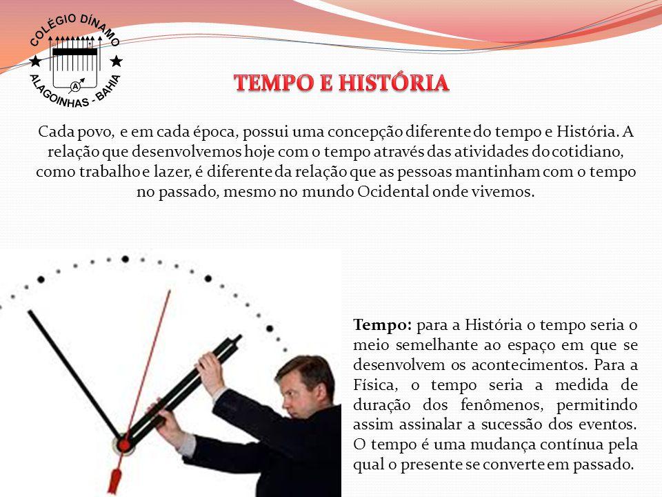 Tempo: para a História o tempo seria o meio semelhante ao espaço em que se desenvolvem os acontecimentos. Para a Física, o tempo seria a medida de dur