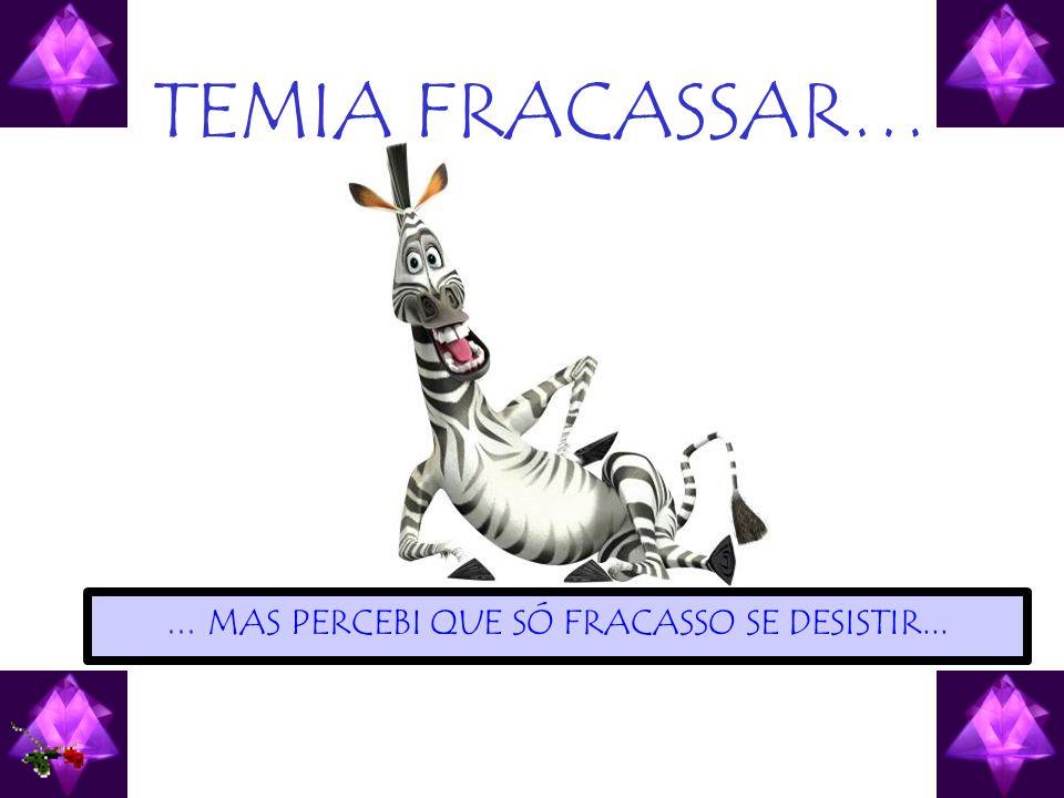 TEMIA FRACASSAR…... MAS PERCEBI QUE SÓ FRACASSO SE DESISTIR...