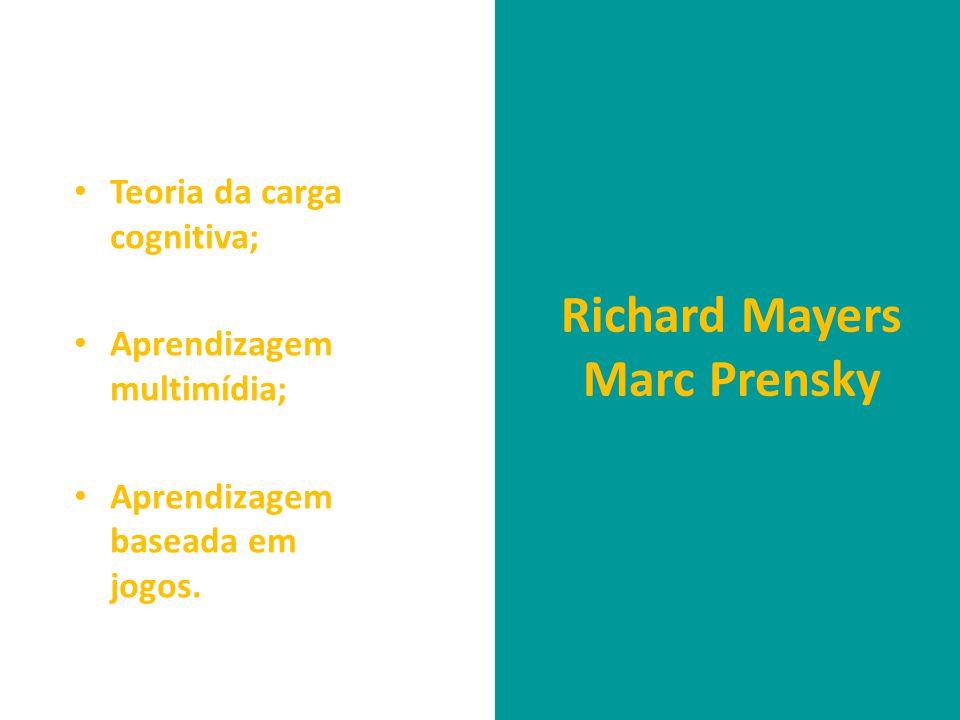 • Teoria da carga cognitiva; • Aprendizagem multimídia; • Aprendizagem baseada em jogos. Richard Mayers Marc Prensky