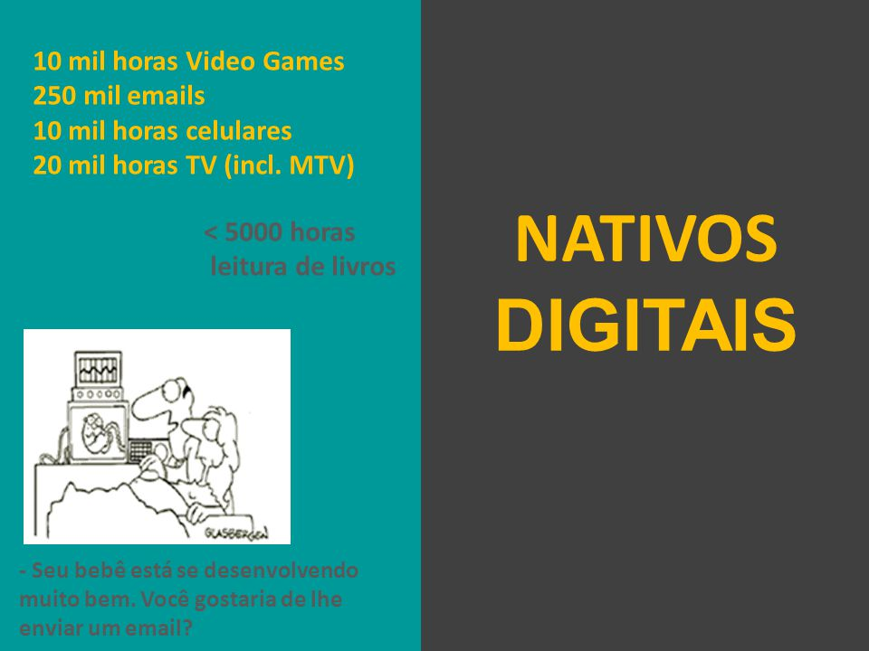 10 mil horas Video Games 250 mil emails 10 mil horas celulares 20 mil horas TV (incl.