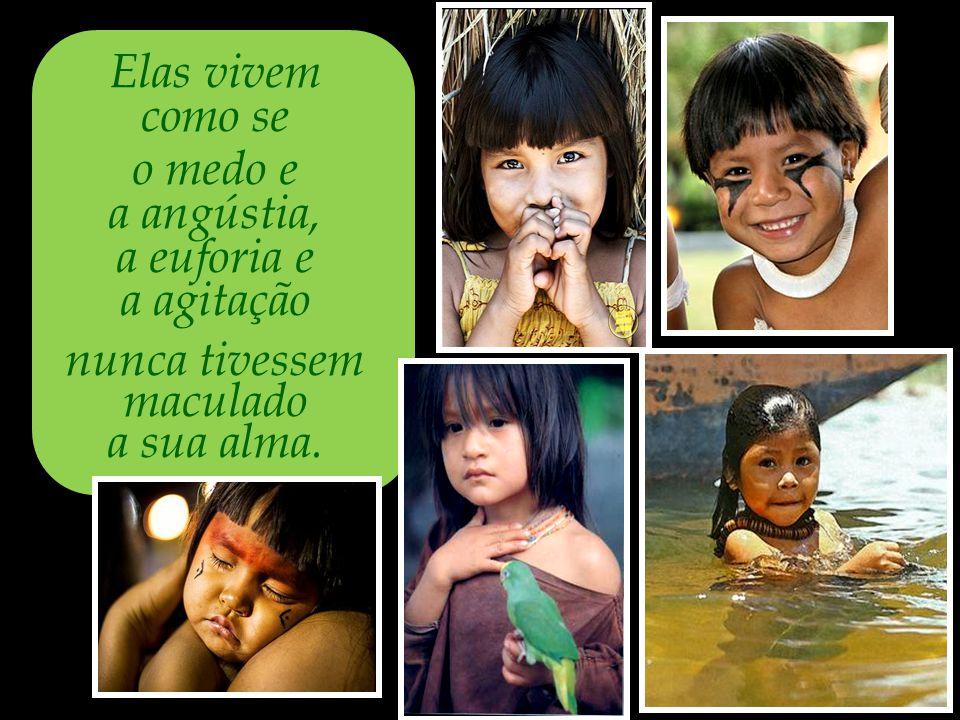 A expressão natural de plenitude é a imagem das crianças indígenas.