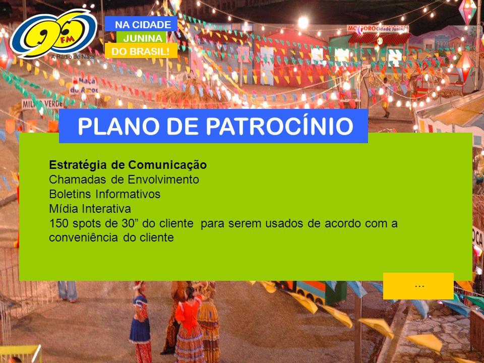 JUNINA DO BRASIL! NA CIDADE PLANO DE PATROCÍNIO Estratégia de Comunicação Chamadas de Envolvimento Boletins Informativos Mídia Interativa 150 spots de