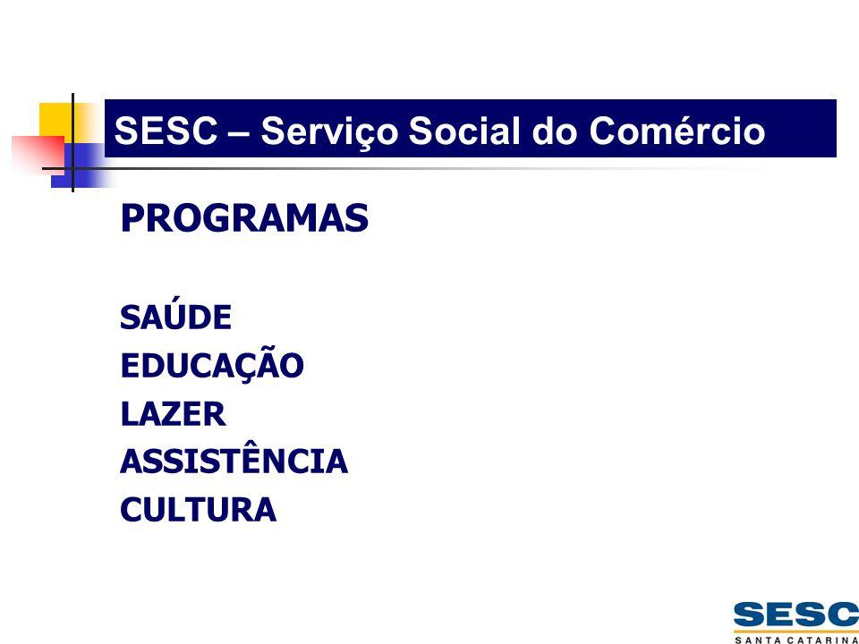 SESC – Serviço Social do Comércio PROGRAMAS SAÚDE EDUCAÇÃO LAZER ASSISTÊNCIA CULTURA
