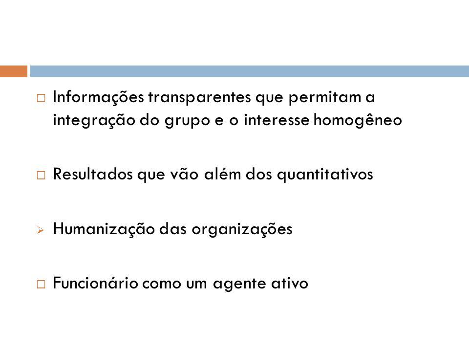 Informações transparentes que permitam a integração do grupo e o interesse homogêneo  Resultados que vão além dos quantitativos  Humanização das o