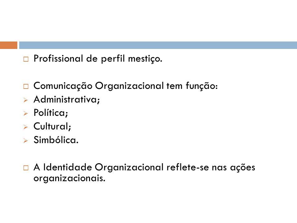  Profissional de perfil mestiço.  Comunicação Organizacional tem função:  Administrativa;  Política;  Cultural;  Simbólica.  A Identidade Organ