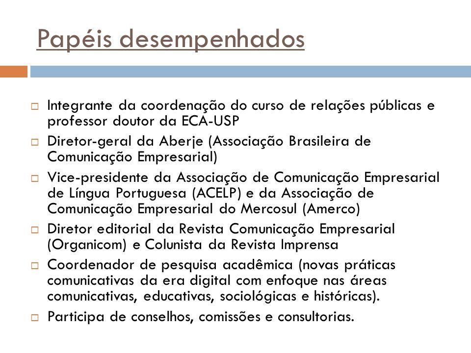Papéis desempenhados  Integrante da coordenação do curso de relações públicas e professor doutor da ECA-USP  Diretor-geral da Aberje (Associação Bra