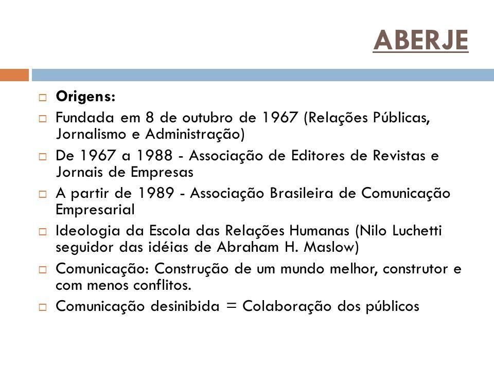 ABERJE  Origens:  Fundada em 8 de outubro de 1967 (Relações Públicas, Jornalismo e Administração)  De 1967 a 1988 - Associação de Editores de Revis