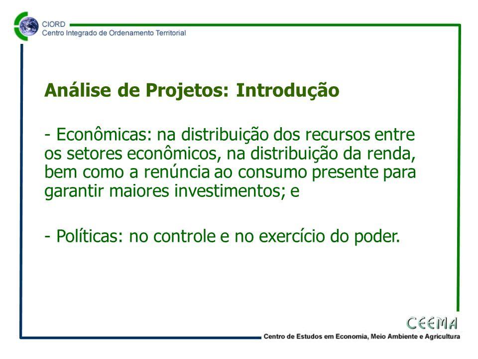 - Econômicas: na distribuição dos recursos entre os setores econômicos, na distribuição da renda, bem como a renúncia ao consumo presente para garantir maiores investimentos; e - Políticas: no controle e no exercício do poder.