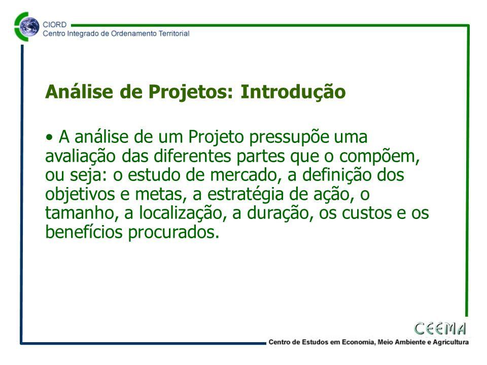 • A análise de um Projeto pressupõe uma avaliação das diferentes partes que o compõem, ou seja: o estudo de mercado, a definição dos objetivos e metas, a estratégia de ação, o tamanho, a localização, a duração, os custos e os benefícios procurados.