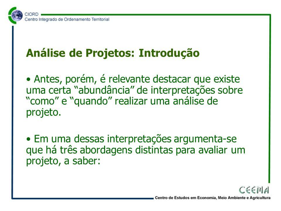 • Antes, porém, é relevante destacar que existe uma certa abundância de interpretações sobre como e quando realizar uma análise de projeto.