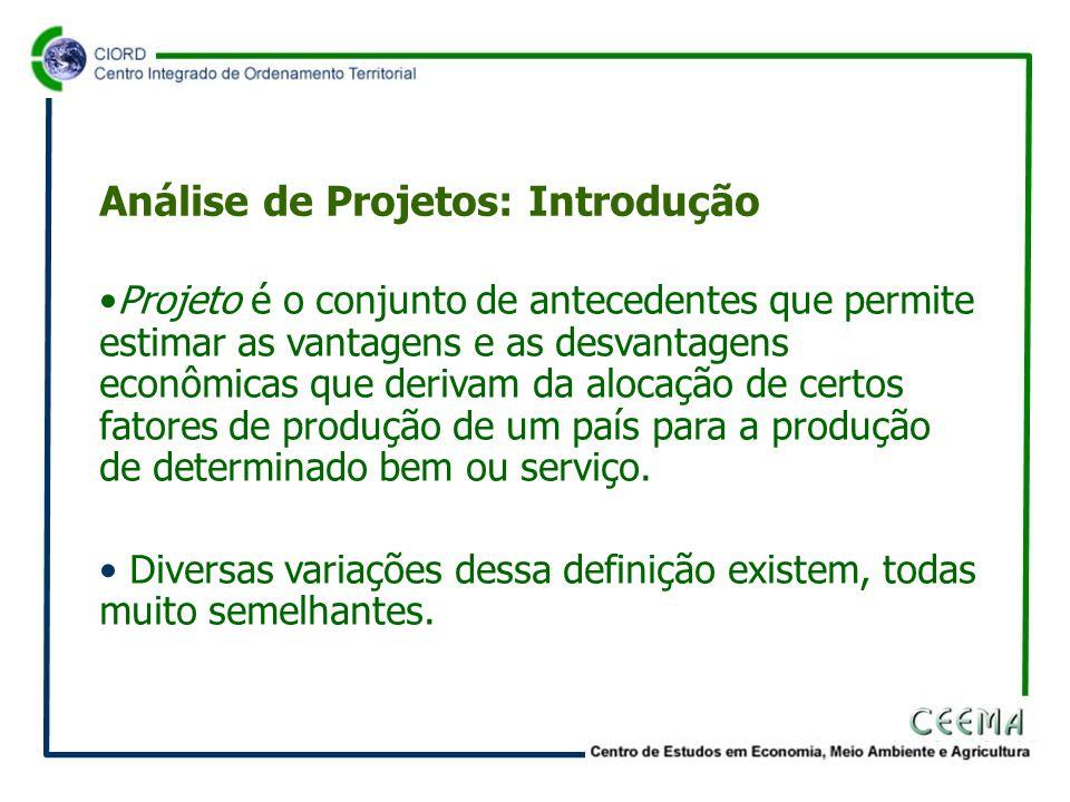 • Por exemplo, projeto é um plano prospectivo de uma unidade de ação capaz de materializar algum aspecto do desenvolvimento econômico ou social.