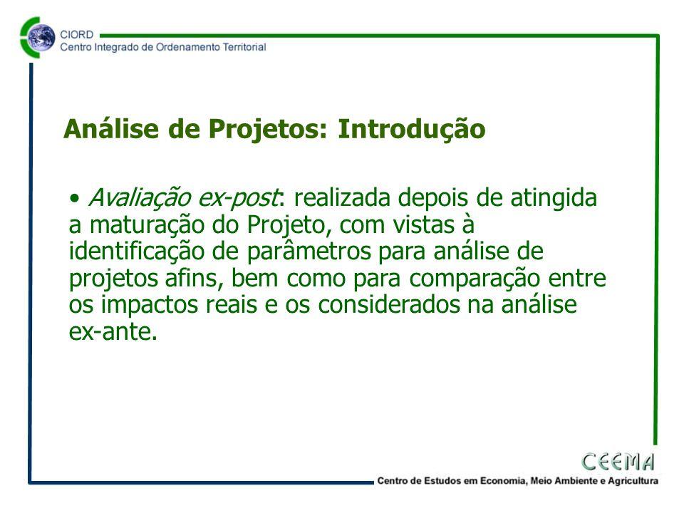 • Avaliação ex-post: realizada depois de atingida a maturação do Projeto, com vistas à identificação de parâmetros para análise de projetos afins, bem como para comparação entre os impactos reais e os considerados na análise ex-ante.