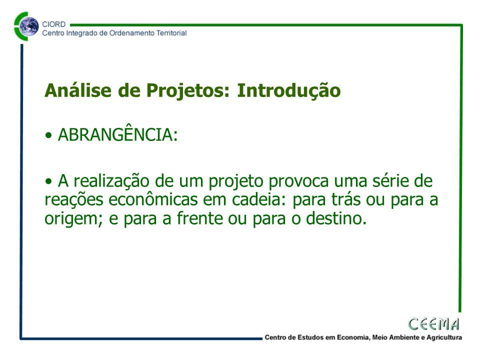 • ABRANGÊNCIA: • A realização de um projeto provoca uma série de reações econômicas em cadeia: para trás ou para a origem; e para a frente ou para o destino.