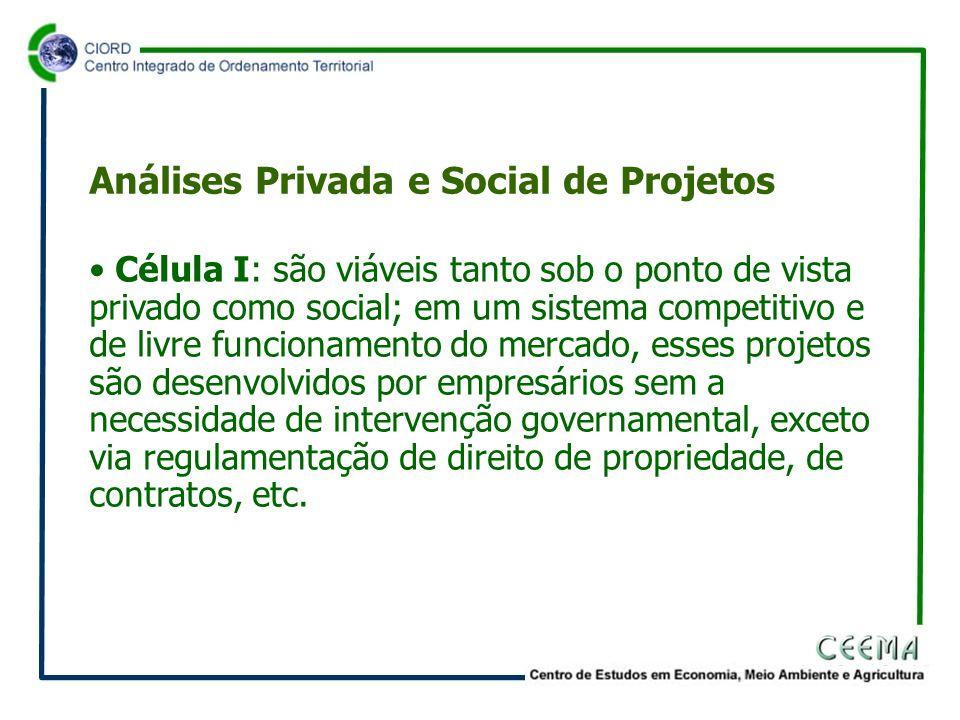 • Célula I: são viáveis tanto sob o ponto de vista privado como social; em um sistema competitivo e de livre funcionamento do mercado, esses projetos são desenvolvidos por empresários sem a necessidade de intervenção governamental, exceto via regulamentação de direito de propriedade, de contratos, etc.