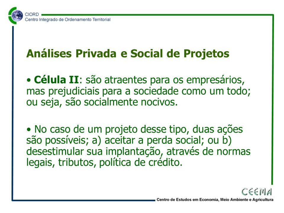• Célula II: são atraentes para os empresários, mas prejudiciais para a sociedade como um todo; ou seja, são socialmente nocivos.