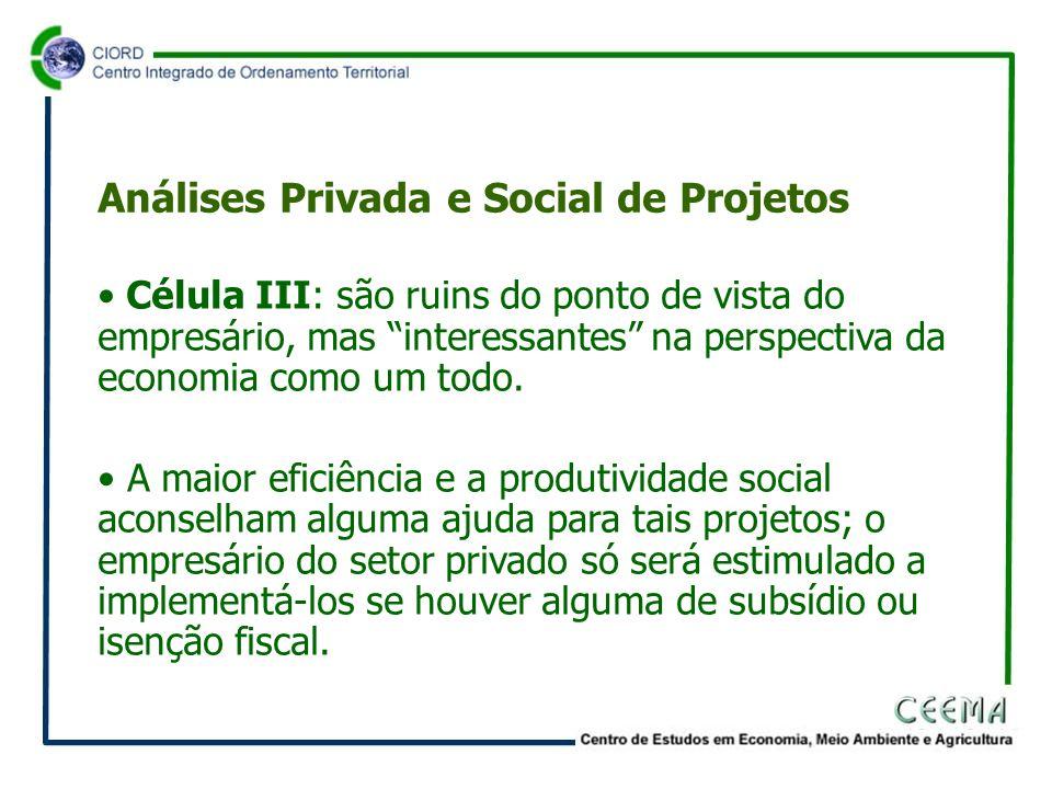 • Célula III: são ruins do ponto de vista do empresário, mas interessantes na perspectiva da economia como um todo.