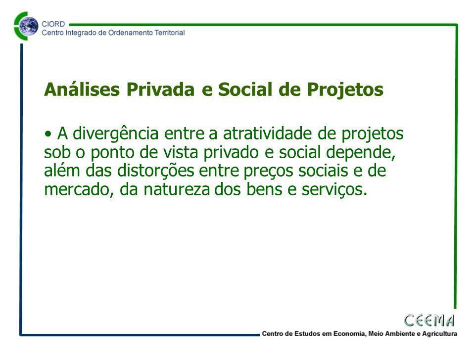 • A divergência entre a atratividade de projetos sob o ponto de vista privado e social depende, além das distorções entre preços sociais e de mercado, da natureza dos bens e serviços.