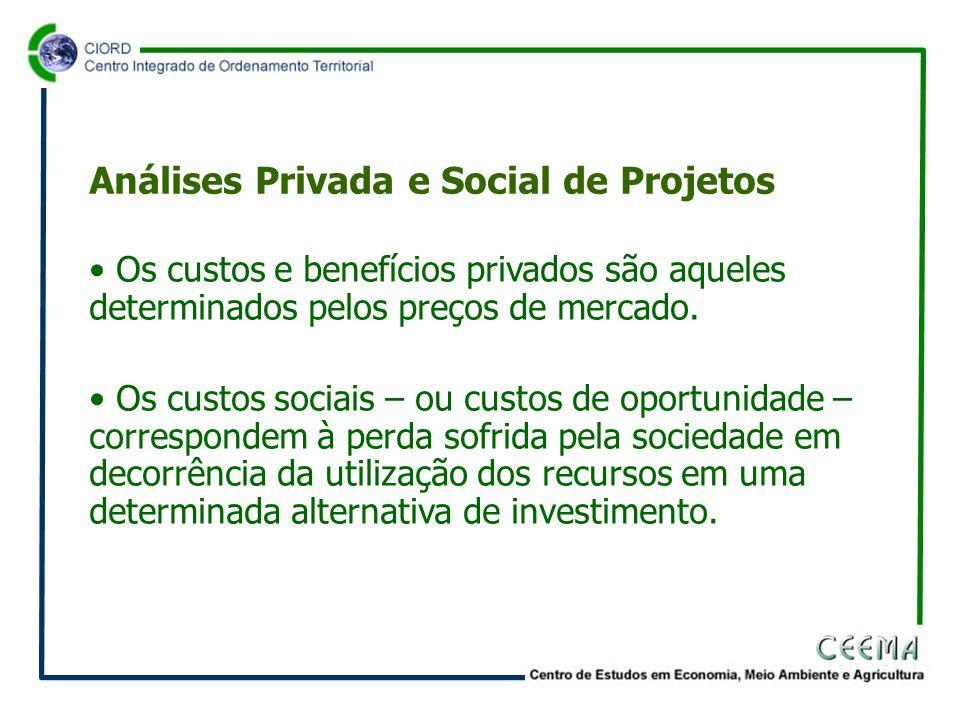 • Os custos e benefícios privados são aqueles determinados pelos preços de mercado.