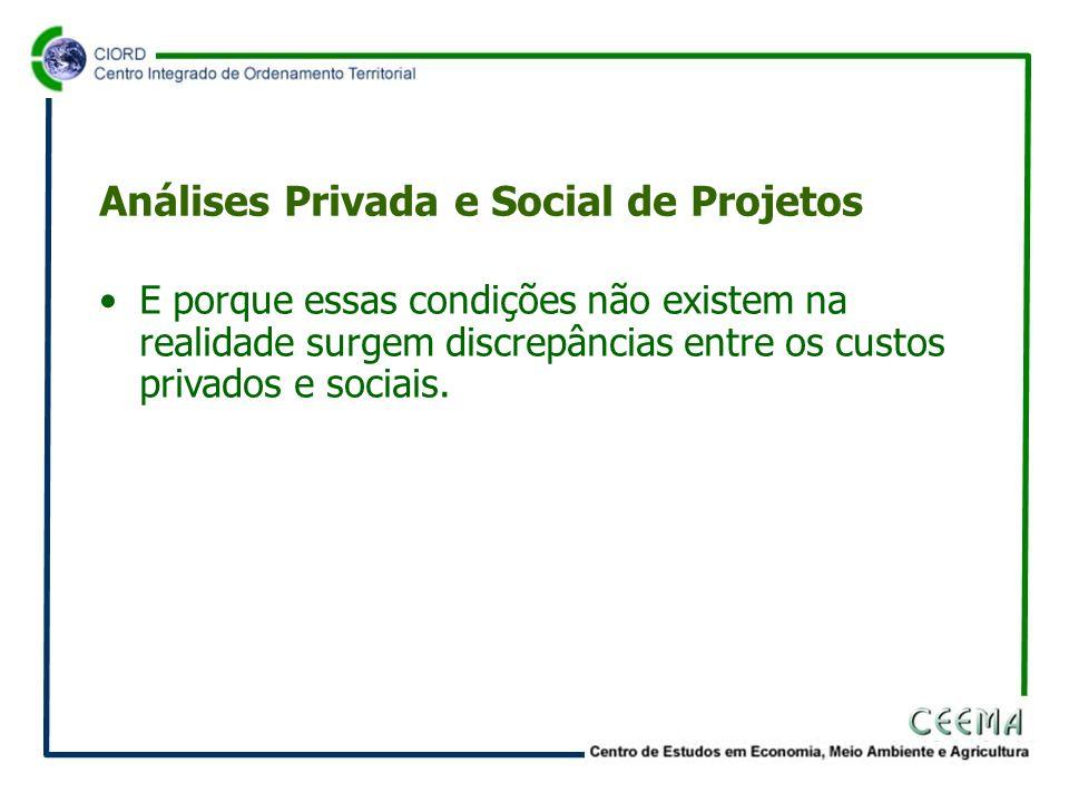 •E porque essas condições não existem na realidade surgem discrepâncias entre os custos privados e sociais.