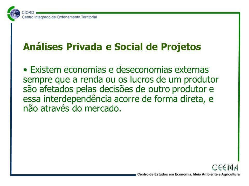 • Existem economias e deseconomias externas sempre que a renda ou os lucros de um produtor são afetados pelas decisões de outro produtor e essa interdependência acorre de forma direta, e não através do mercado.