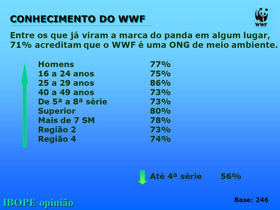 IBOPE opinião Entre os que já viram a marca do panda em algum lugar, 71% acreditam que o WWF é uma ONG de meio ambiente. Homens77% 16 a 24 anos75% 25