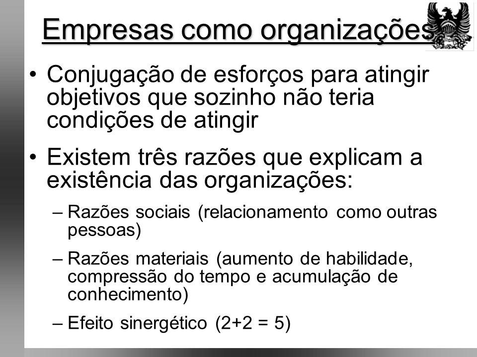 •Na medida em que uma organização é bem sucedida, atinge seus objetivos, ela tende a ampliá-los •Objetivos organizacionais: estão geralmente colocados fora das organizações, no ambiente em que estão inseridas (sociedade envolve e condiciona o seu comportamento) Empresas como organizações