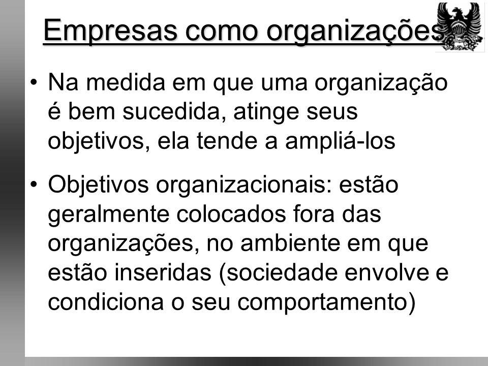 •Um dos principais objetivos organizacionais: produzir algo necessário para a sociedade •Sociedade aceita o que é produzido porque tem necessidade a serem satisfeitas •Organizações são unidades sociais, intencionalmente construídas e reconstruídas, a fim de atingir objetivos específicos .