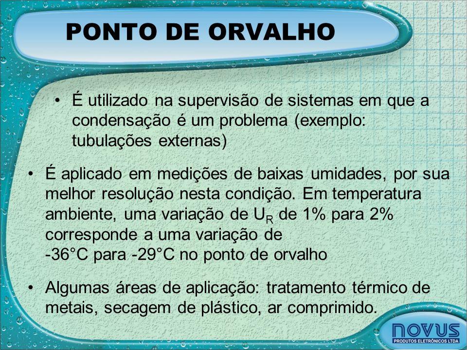 PONTO DE ORVALHO •É utilizado na supervisão de sistemas em que a condensação é um problema (exemplo: tubulações externas) •É aplicado em medições de b