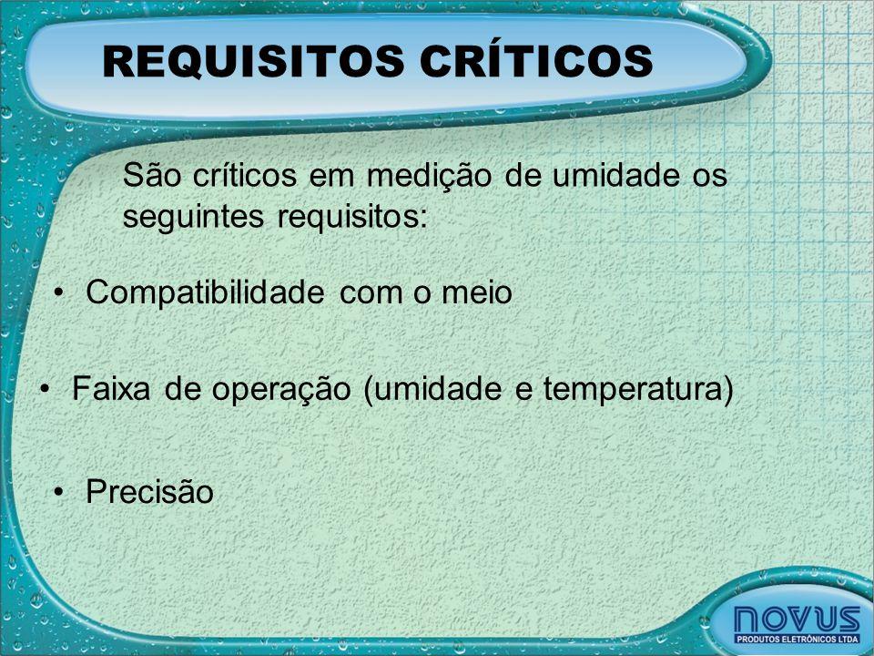 REQUISITOS CRÍTICOS •Compatibilidade com o meio •Precisão •Faixa de operação (umidade e temperatura) São críticos em medição de umidade os seguintes r