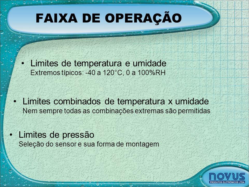 FAIXA DE OPERAÇÃO •Limites combinados de temperatura x umidade Nem sempre todas as combinações extremas são permitidas •Limites de pressão Seleção do