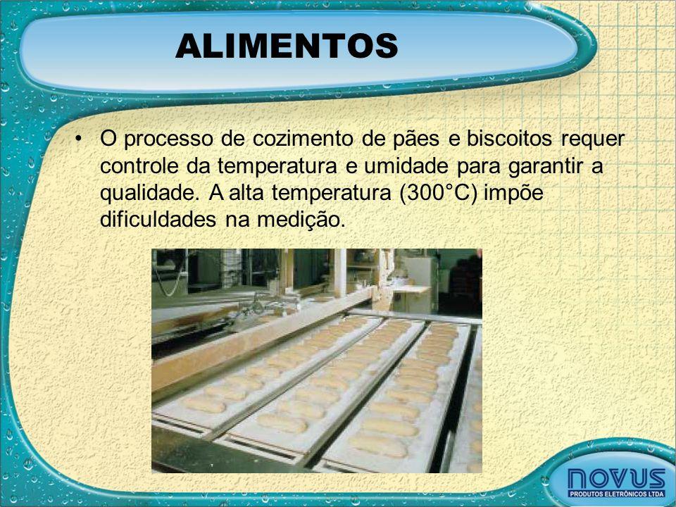 ALIMENTOS •O processo de cozimento de pães e biscoitos requer controle da temperatura e umidade para garantir a qualidade. A alta temperatura (300°C)