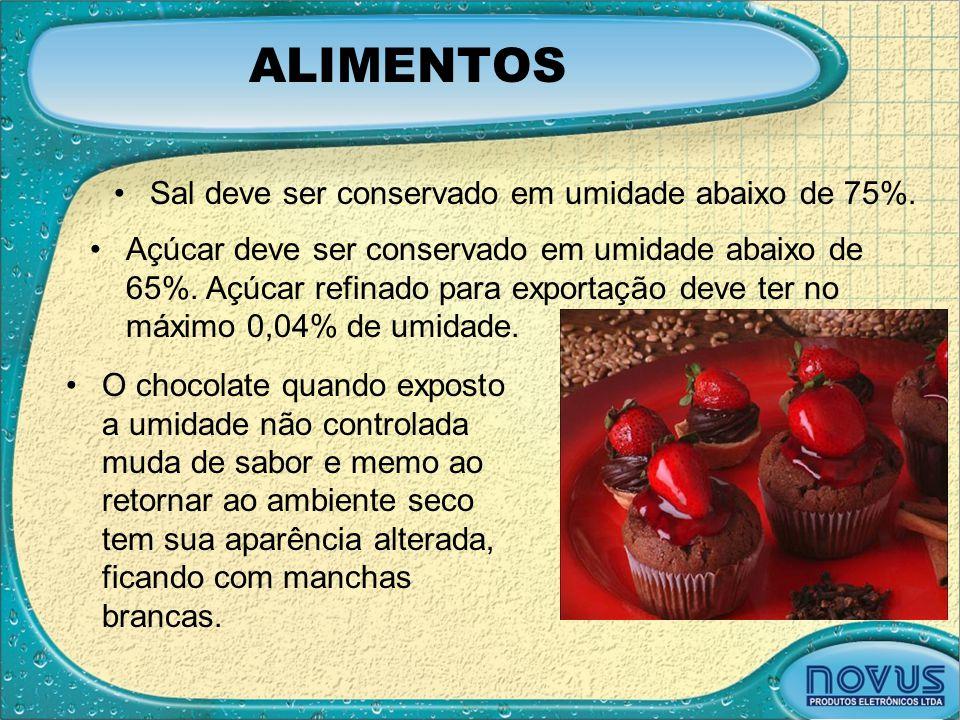 ALIMENTOS •Sal deve ser conservado em umidade abaixo de 75%. •O chocolate quando exposto a umidade não controlada muda de sabor e memo ao retornar ao