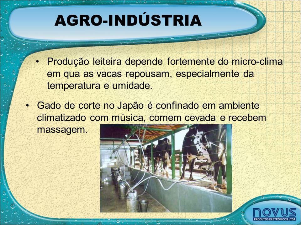 AGRO-INDÚSTRIA •Produção leiteira depende fortemente do micro-clima em qua as vacas repousam, especialmente da temperatura e umidade. •Gado de corte n