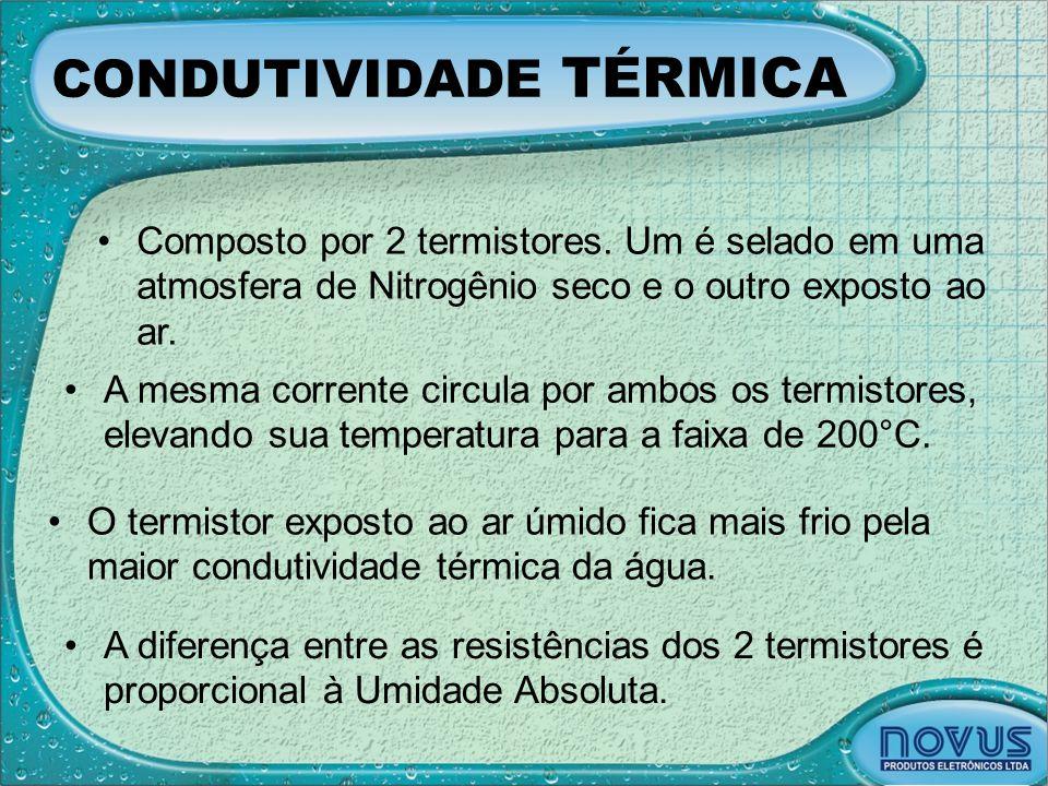 CONDUTIVIDADE TÉRMICA •Composto por 2 termistores. Um é selado em uma atmosfera de Nitrogênio seco e o outro exposto ao ar. •A mesma corrente circula