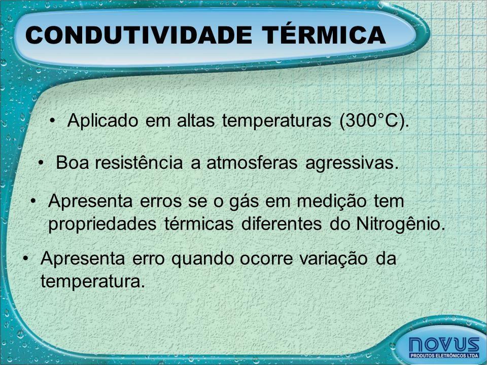 CONDUTIVIDADE TÉRMICA •Aplicado em altas temperaturas (300°C). •Boa resistência a atmosferas agressivas. •Apresenta erros se o gás em medição tem prop