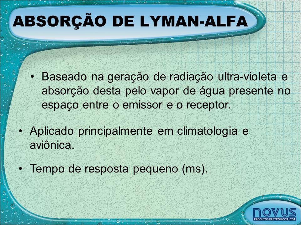 ABSORÇÃO DE LYMAN-ALFA •Baseado na geração de radiação ultra-violeta e absorção desta pelo vapor de água presente no espaço entre o emissor e o recept