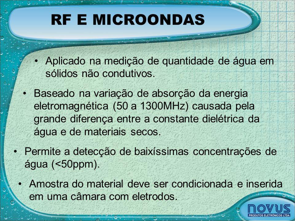 RF E MICROONDAS •Aplicado na medição de quantidade de água em sólidos não condutivos. •Baseado na variação de absorção da energia eletromagnética (50