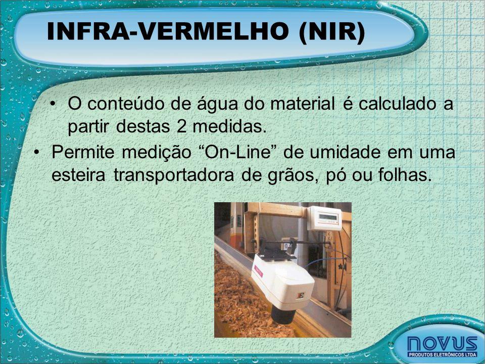 """INFRA-VERMELHO (NIR) •O conteúdo de água do material é calculado a partir destas 2 medidas. •Permite medição """"On-Line"""" de umidade em uma esteira trans"""