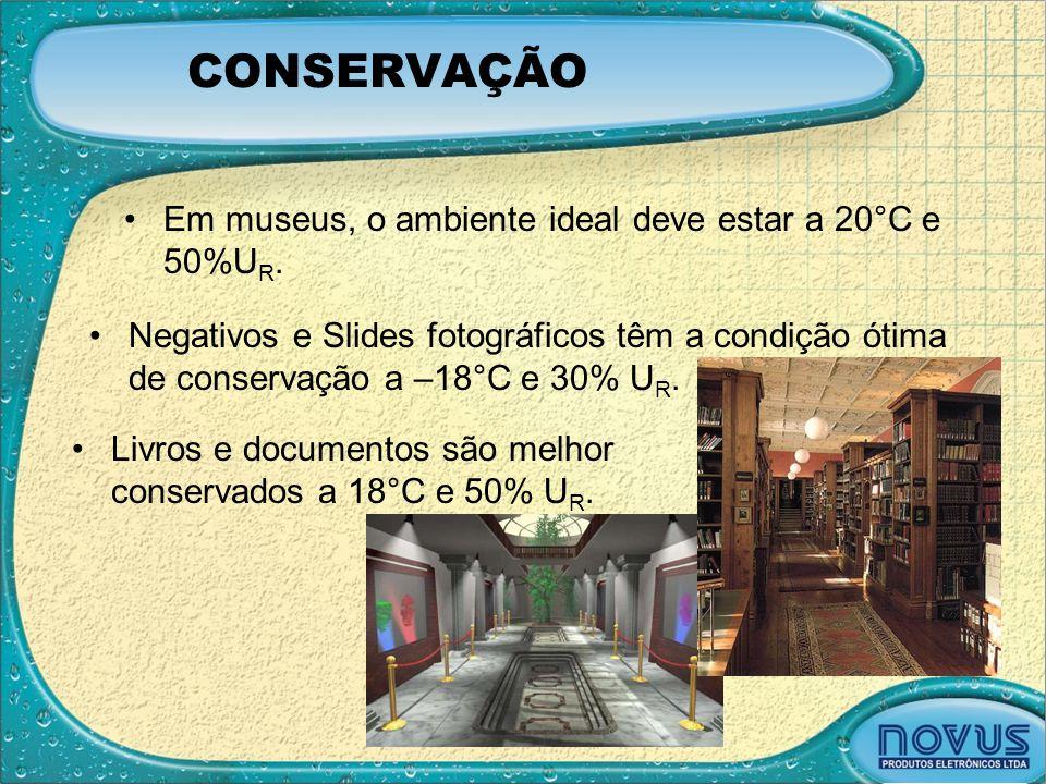 CONSERVAÇÃO •Em museus, o ambiente ideal deve estar a 20°C e 50%U R. •Negativos e Slides fotográficos têm a condição ótima de conservação a –18°C e 30