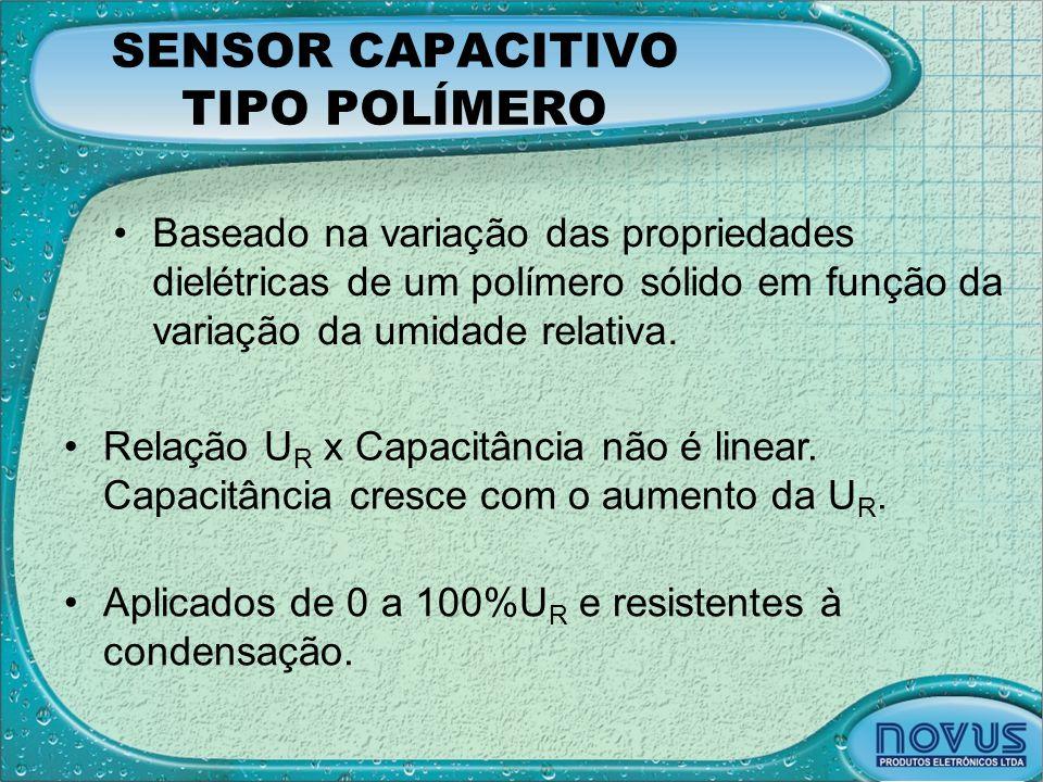 SENSOR CAPACITIVO TIPO POLÍMERO •Baseado na variação das propriedades dielétricas de um polímero sólido em função da variação da umidade relativa. •Re